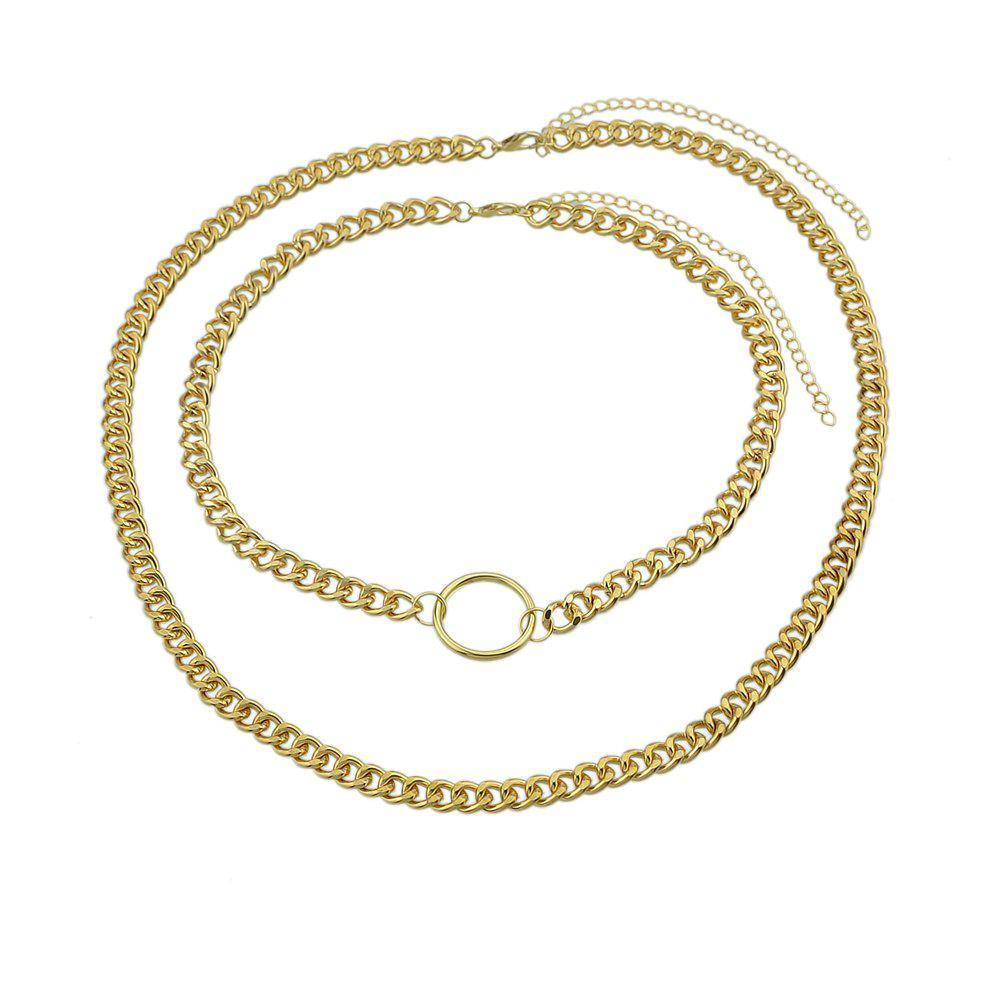 Double Layer Link Chain with Circle Shape Necklace - GOLD