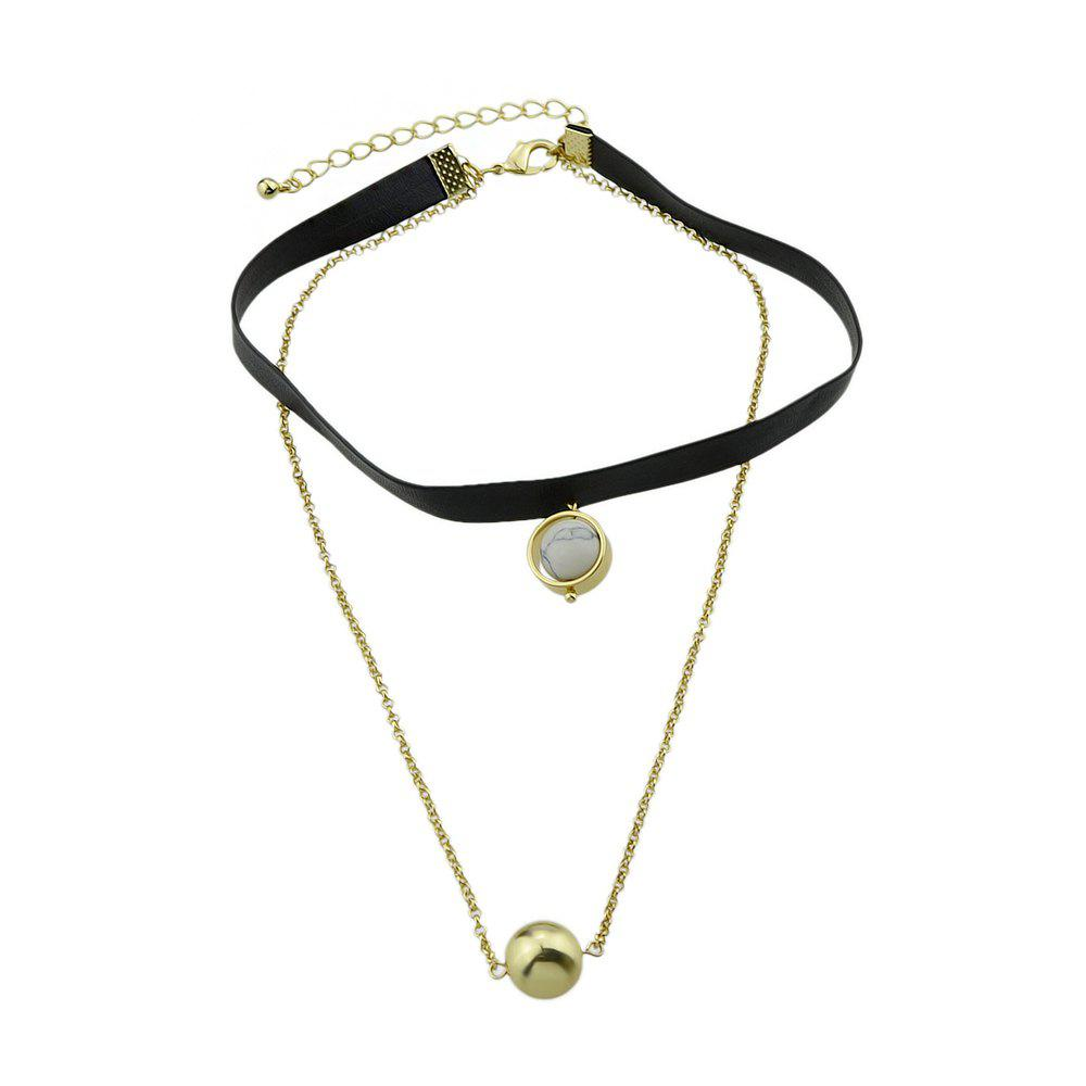 Multi Layers Chain PU Leather Tattoos Choker Necklace - WHITE
