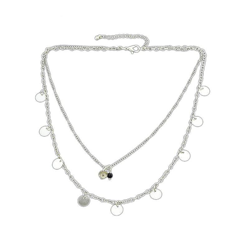 Multi Layers Chain with Rhinestone Bead Necklace - SILVER