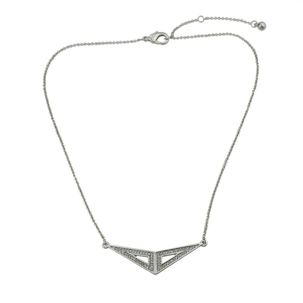 Silver Color with Rhinestone Triangle Pendant Necklace - SILVER