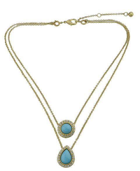 Multi Layers with Rhinestone Chain Necklace - GOLD