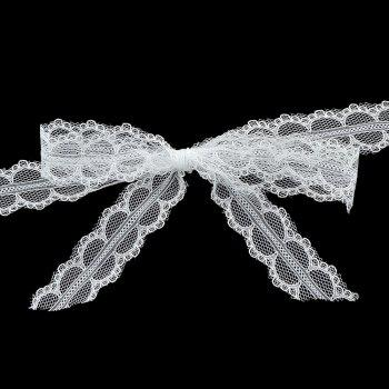 White Lace with Bowknot Choker Necklace - WHITE