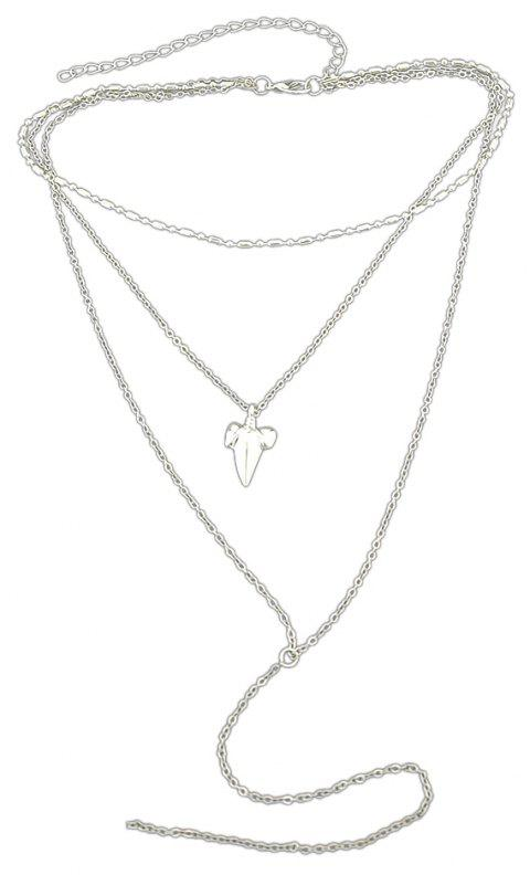 Multi Layer Chain with Geometric Shape Necklace - SILVER