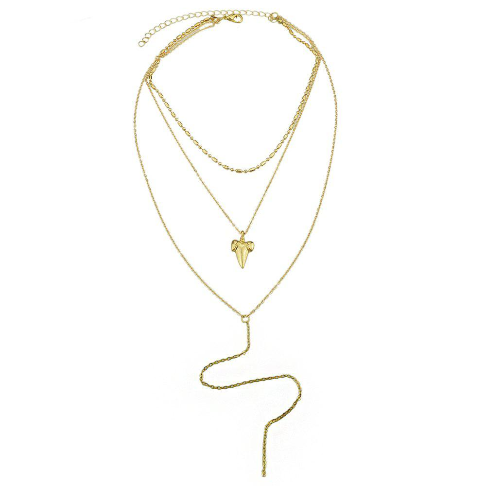 Multi Layer Chain with Geometric Shape Necklace - GOLD