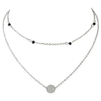 Multi Layers Chain with Round Pendant Necklace - SILVER