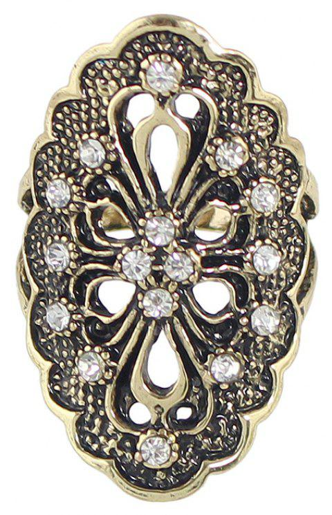 Rhinestone Hollow Out Flower Finger Rings - GOLD 7