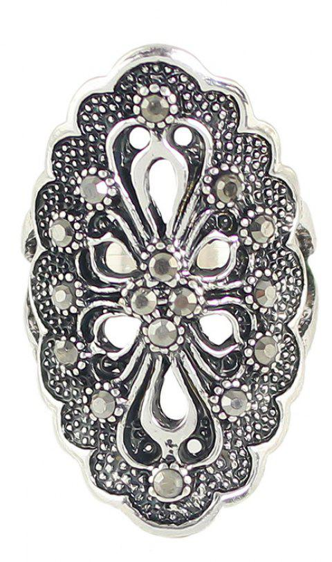Rhinestone Hollow Out Flower Finger Rings - SILVER 8