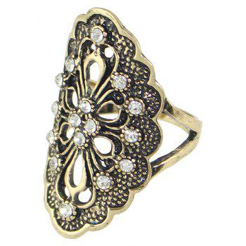 Rhinestone Hollow Out Flower Finger Rings - GOLD 8