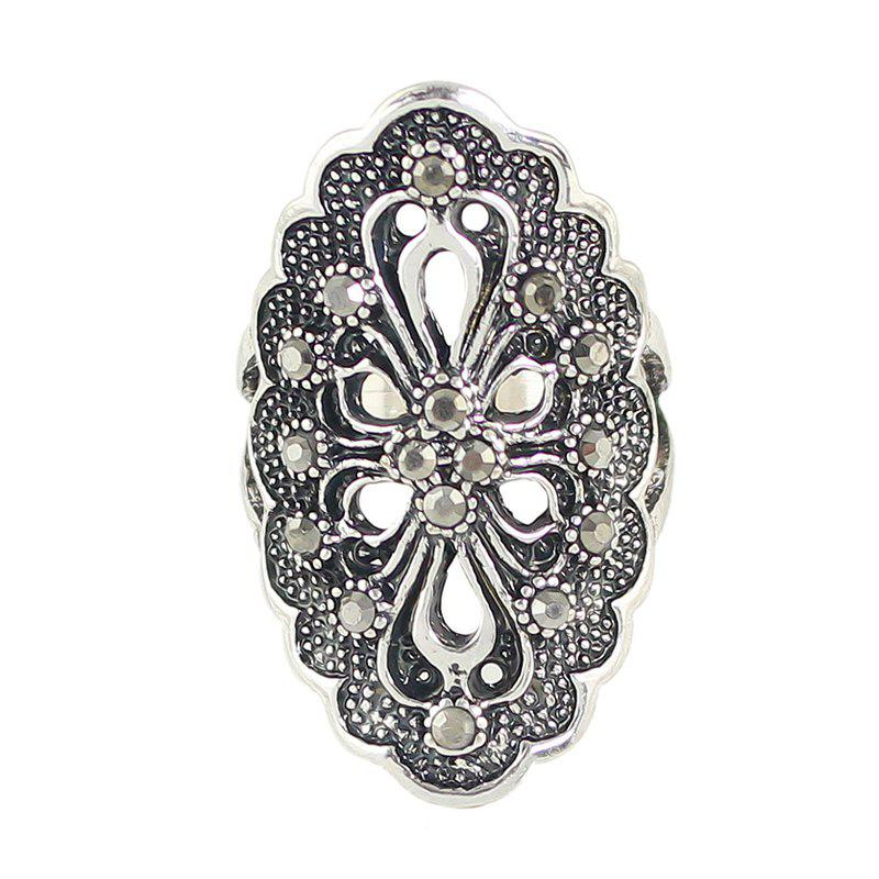 Rhinestone Hollow Out Flower Finger Rings - SILVER 7