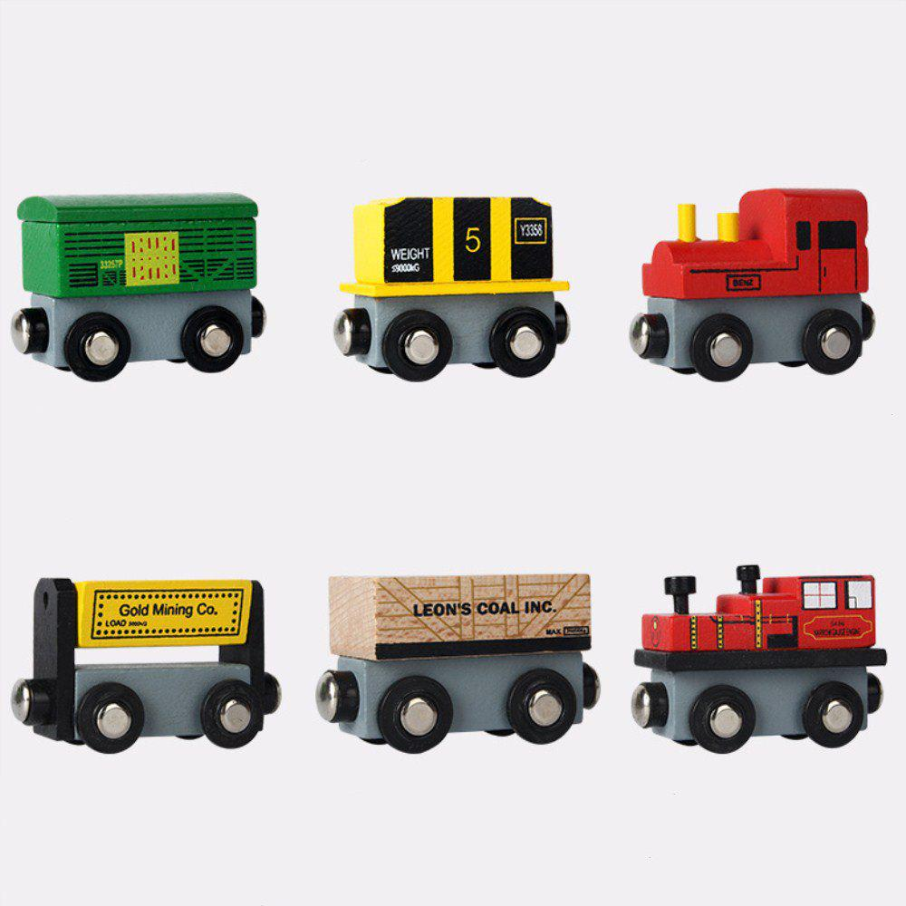 Early Education Toy Magnetic Wood Small Car Head - multicolor A