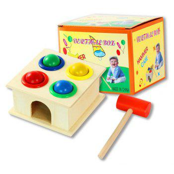 Colorful Wood Hammering Ball Hammer Box Children Early Learning Educational Toy - multicolor