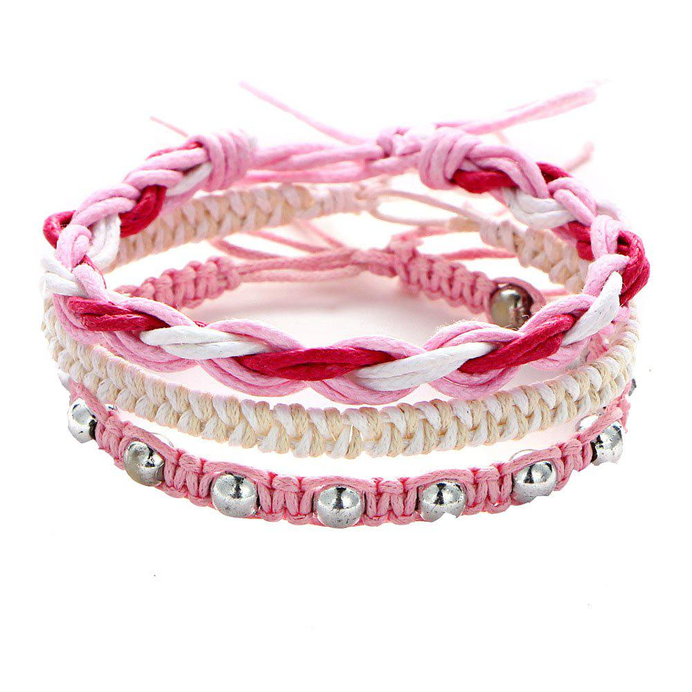 New Style Handwoven Rope Women Charm Multi-Layer Beaded Bracelet - PINK