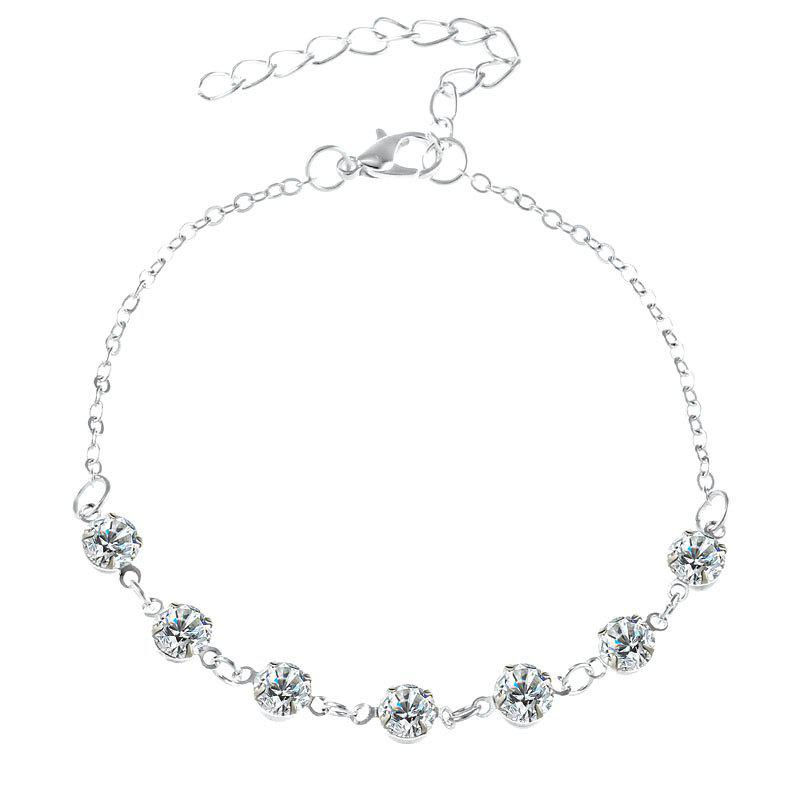 Fashionable Simple Lady Crystal Anklet - SILVER