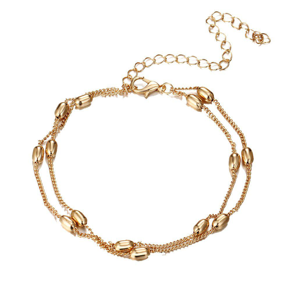 Fashionable and Simple Double Beaded Beach Anklet - GOLD