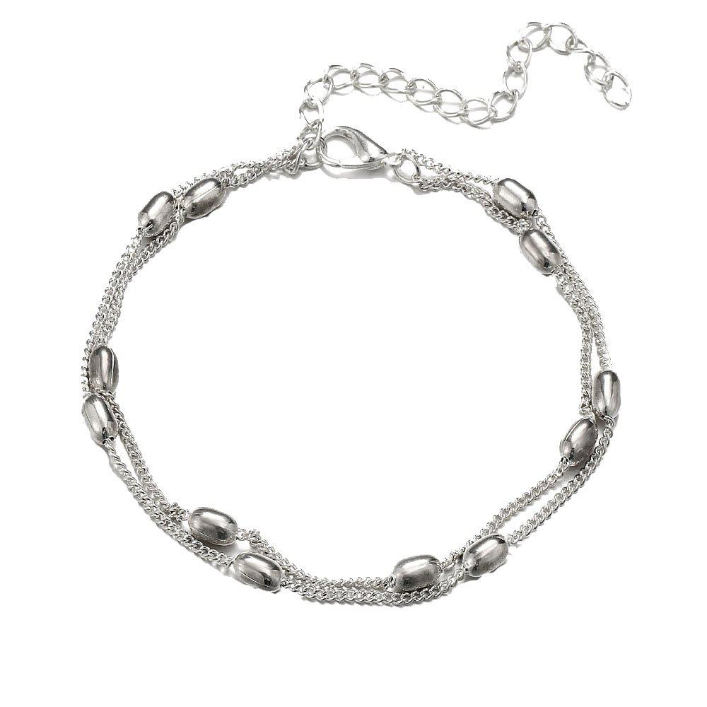 Fashionable and Simple Double Beaded Beach Anklet - SILVER