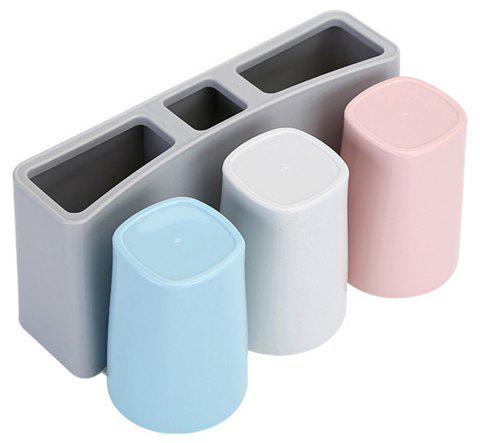Wall Hanging Creative Sucker Rinse Cup Toothpaste Toothpick Box Rack - LIGHT GRAY
