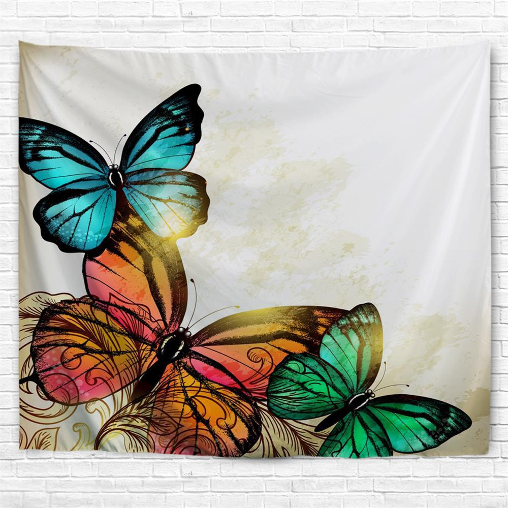 Red Yellow Green Butterfly 3D Printing Home Wall Hanging Tapestry for Decoration - multicolor A W200CMXL180CM