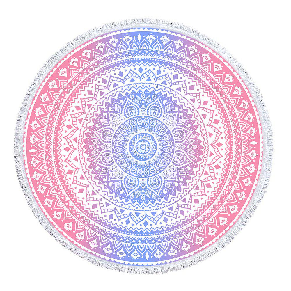Pink Blue Mandala Beach Towel with Microfiber Tassel - multicolor A 150CM