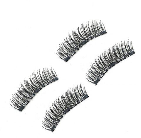 Chemical Fiber Magnetic Handmade Double Three Long Eyelashes - BLACK 0.08X0.12CM