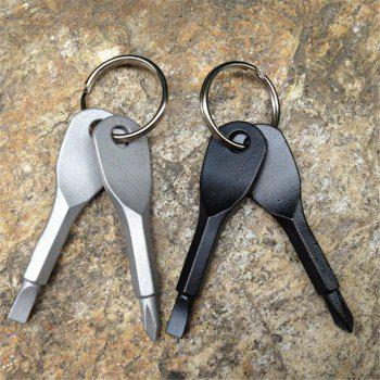Portable Stainless Steel Chain Screwdriver Flat Head Key Ring - SILVER