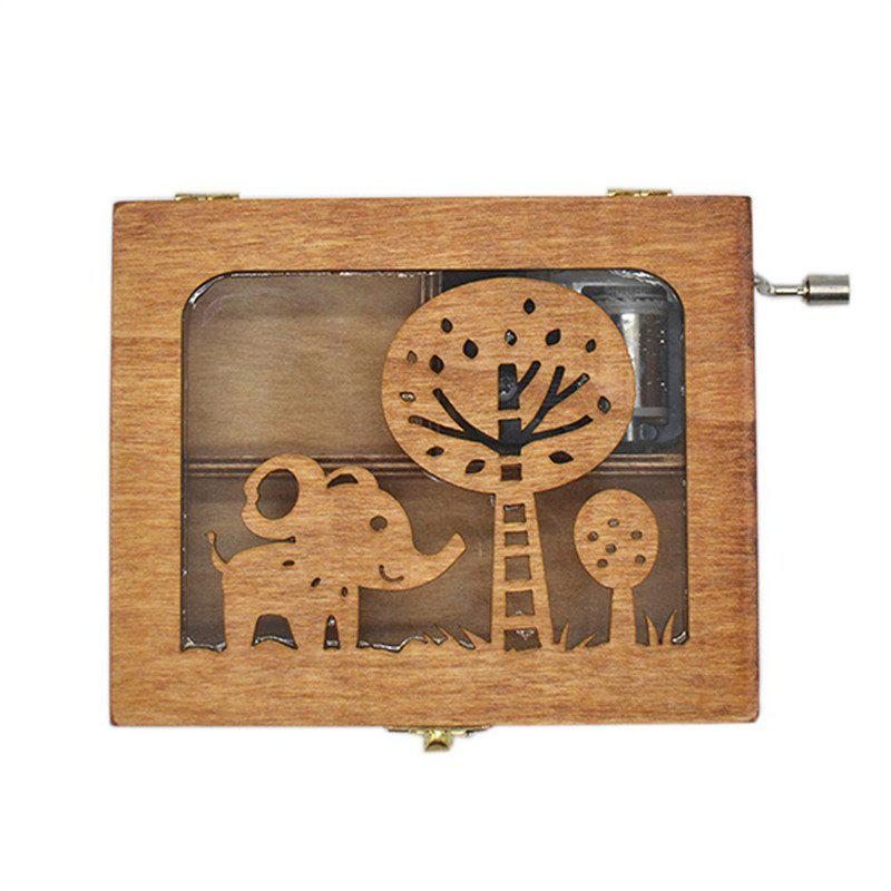 Wooden Animal Pattern Hand Cranked Jewelry Music Box dedo mg 346 gifts wooden piano music box black