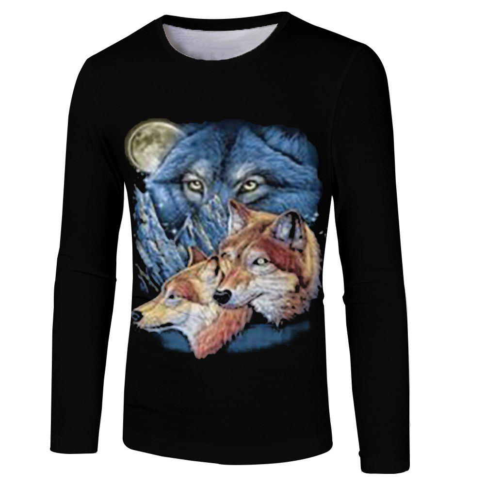3D Fashion Spring and Autumn Wolf Hair Print Men's Long Sleeve T-shirt wolf chain print long sleeve sweater