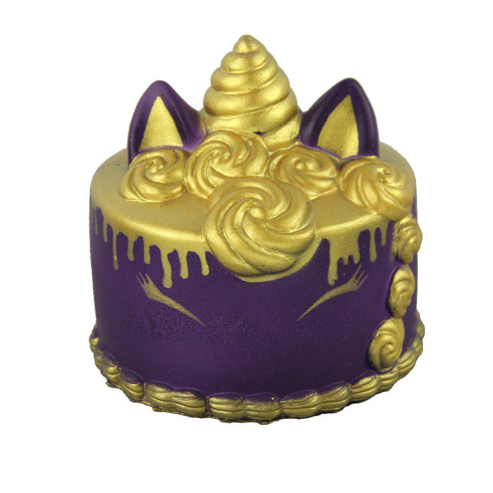 Jumbo Squishy Golden Unicorn Cake Toys - PURPLE