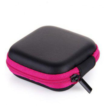 Portable Zipper Hard Headphones Case PU Leather Earphone Storage Bag - PINK LEMONADE