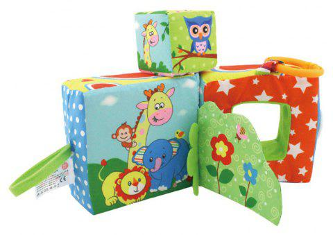 Baby Toys Cute Cloth Cover Building Blocks Multifunction Puzzle Ring Rattle - multicolor A