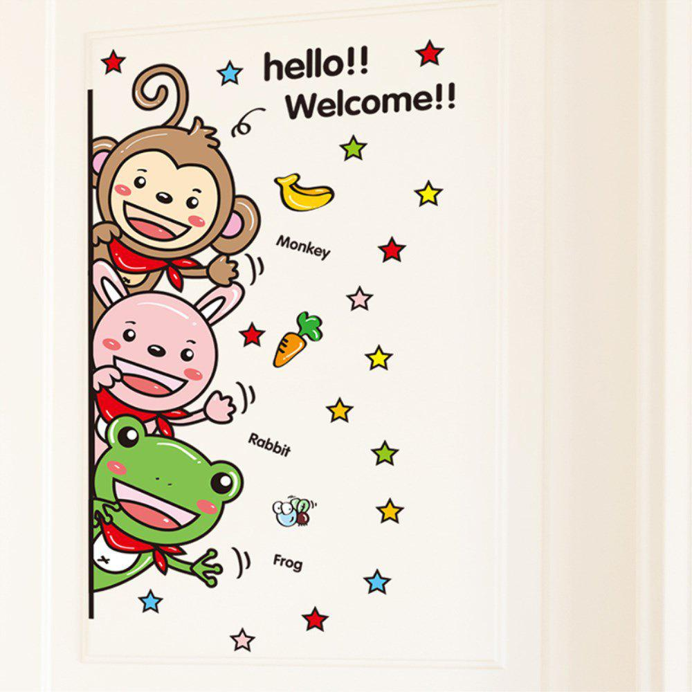 Creative Decorative Cartoon 3D Super Cute Animal Door Stickers cute kawaii cartoon animal stickers creative fruit vegetables sticky paper for scrapbooking diary free shipping 994