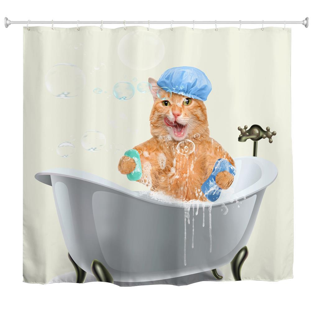 Fat Cat Bath Water-Proof Polyester 3D Printing Bathroom Shower Curtain wall mount single handle bath shower faucet with handshower antique brass bathroom shower mixer tap