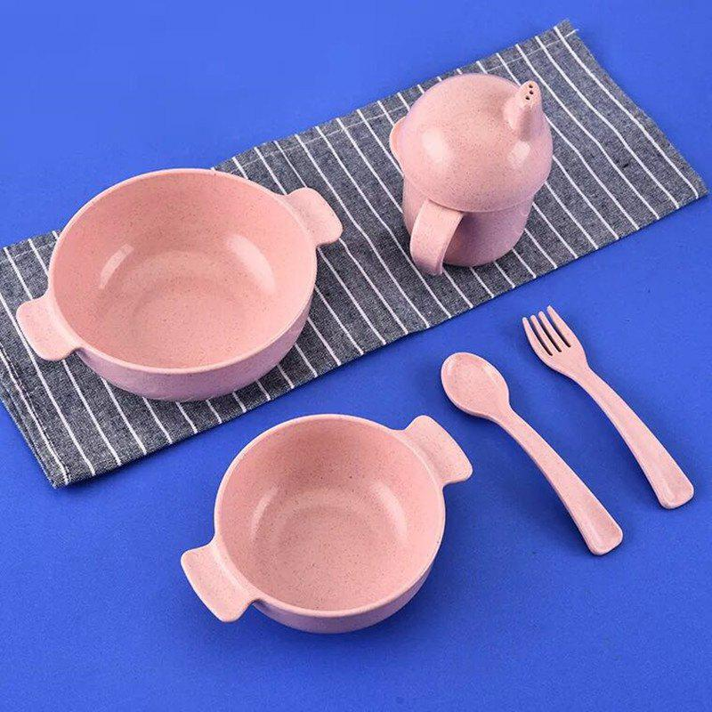 5pcs Set Kids Tableware with Bowl Fork Spoon Cup Eco Friendly Healthy diy wooden model doll house manual assembly house miniature puzzle handmade dollhouse birthday gift toy pandora love cake