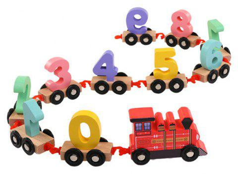 Children Educational Wood Puzzle Assembly Drag Toy Car Puzzle Blocks - FIRE ENGINE RED