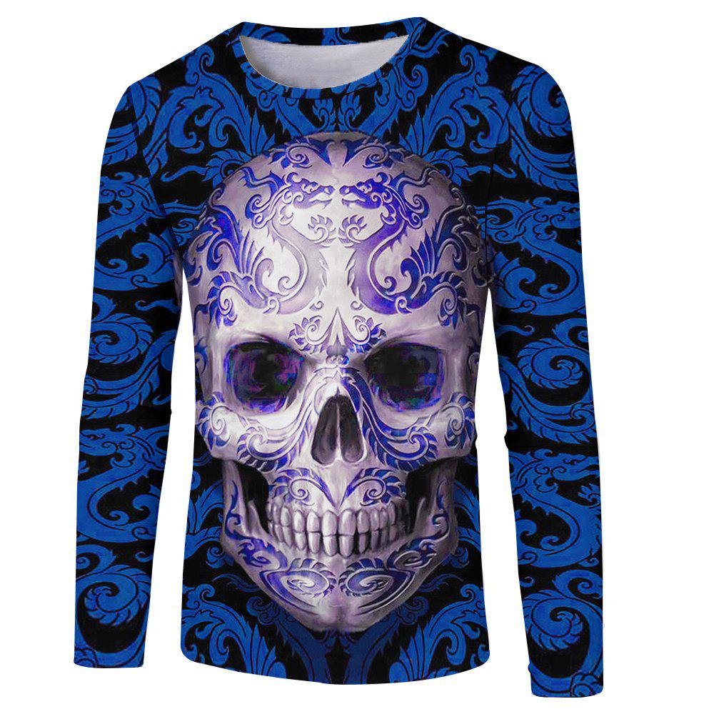 3D Spring and Autumn Blue Skull Print Men's Long Sleeve T-shirt цена
