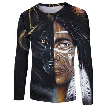 3D Spring and Autumn Fashion Half Face Printing Men s Long Sleeve T shirt