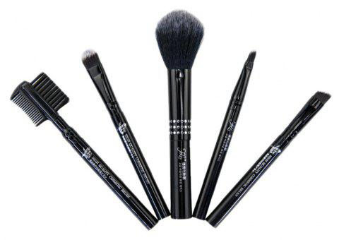 Makeup Brush Set Soft Functional Versatile High Quality 5pcs - BLACK