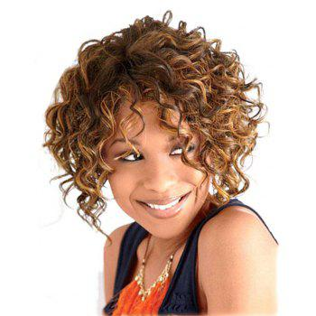 Golden Blonde Short Curly Best Chic Style Synthetic Hair Wig for American Women - GOLDEN BROWN 10INCH