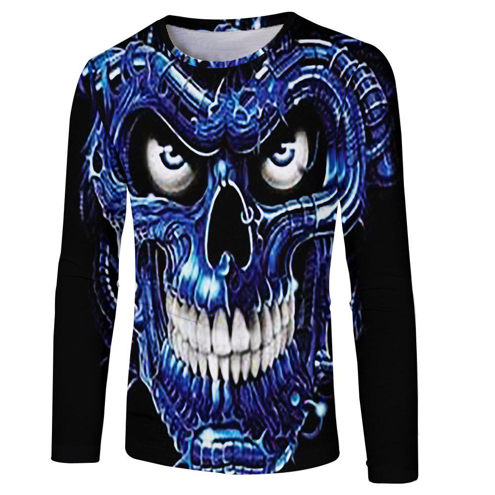 Spring and Autumn Leisure Style Ghost Head 3D Printing Men's Long Sleeve T-shirt