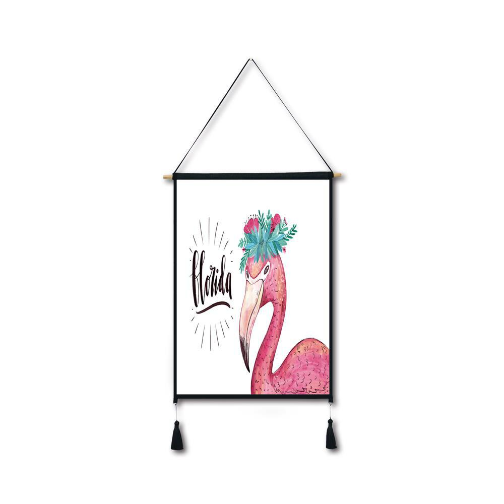 Flamingo Garland Tassel Hanging Painting Wall Decor Print black spots flamingo tassel hanging painting wall decor print