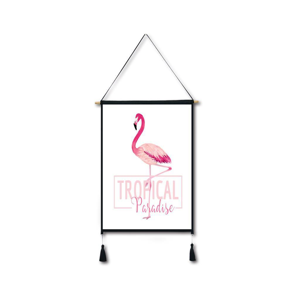 Letter Flamingo Tassel Hanging Painting Wall Decor Print black spots flamingo tassel hanging painting wall decor print