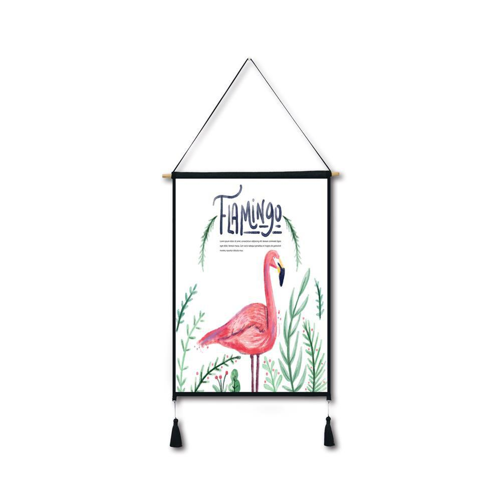 Watercolor Leaf Flamingo Tassel Hanging Painting Wall Decor Print leaf print tassel table runner
