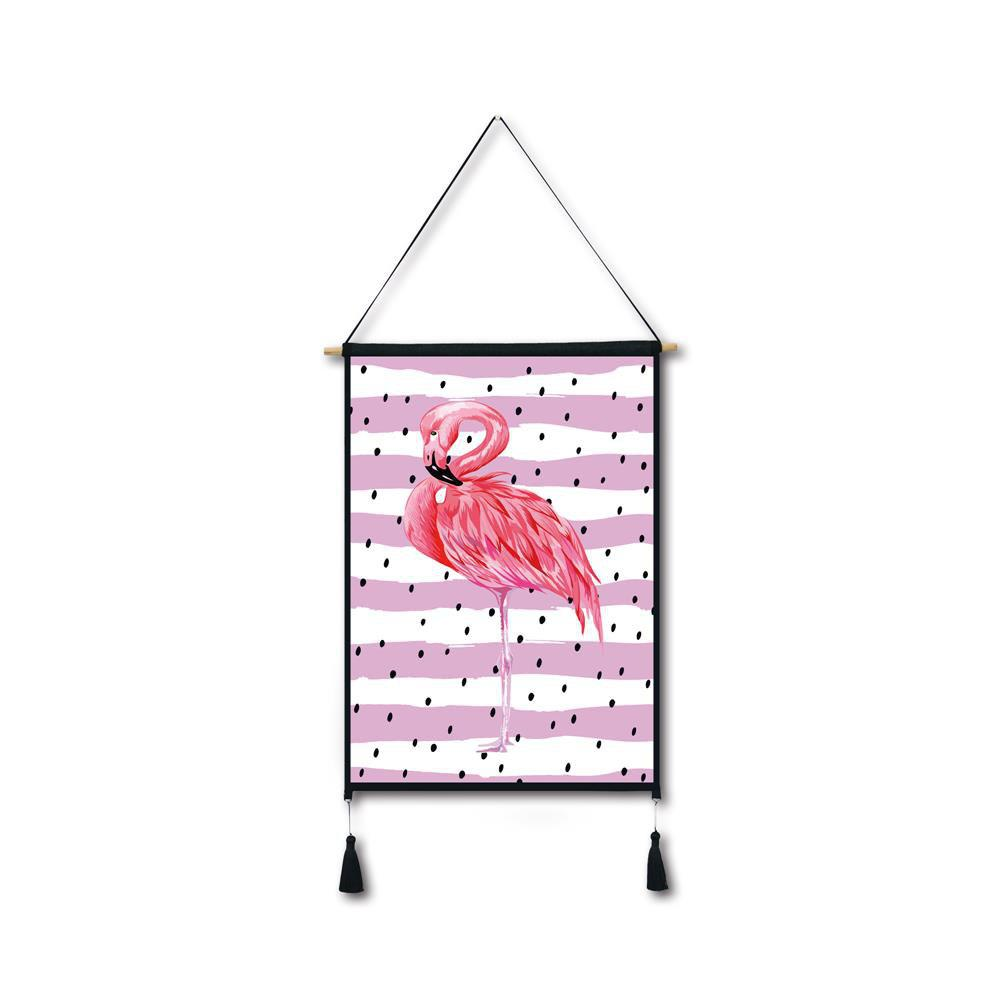 Black Spots Flamingo Tassel Hanging Painting Wall Decor Print black spots flamingo tassel hanging painting wall decor print
