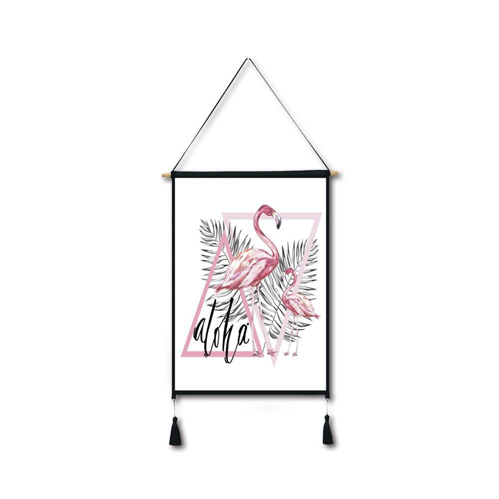 Triangle Flamingo Tassel Hanging Painting Wall Decor Print black spots flamingo tassel hanging painting wall decor print