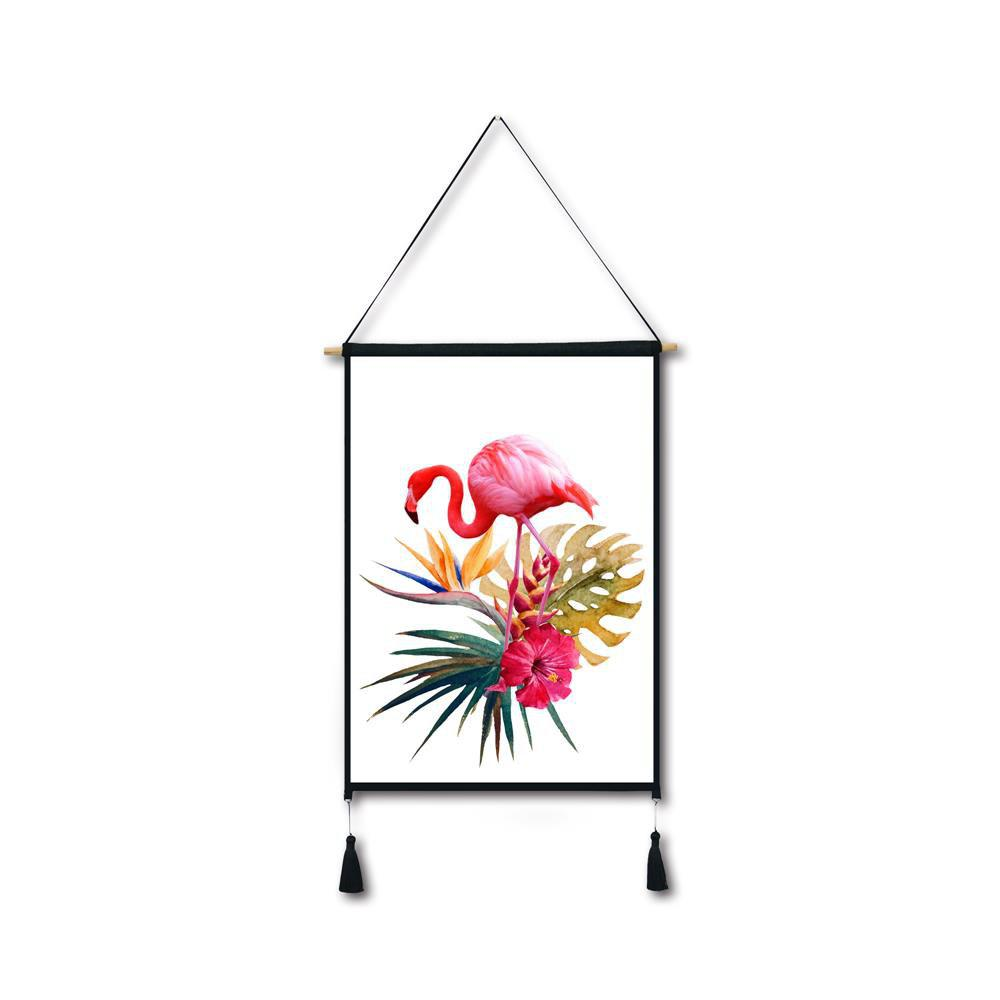 Flamingo Flowers Tassel Hanging Painting Wall Decor Print black spots flamingo tassel hanging painting wall decor print