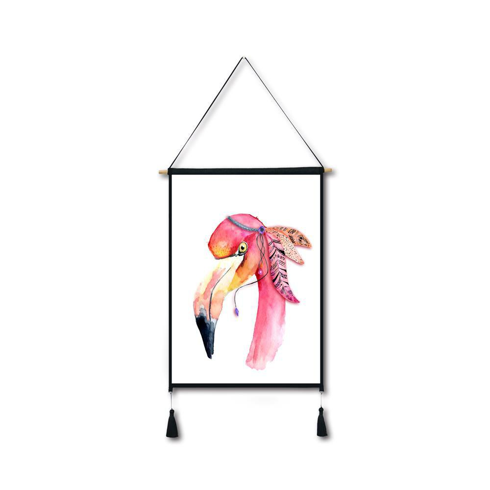 Flamingo Head Tassel Hanging Painting Wall Decor Print black spots flamingo tassel hanging painting wall decor print