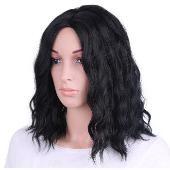 Synthetic Wig for Women Short Black Wavy Hair Water Wave Middle Parting - NATURAL BLACK 12INCH