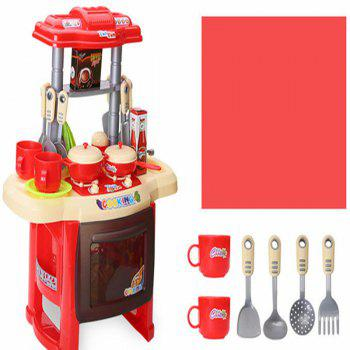 Music Children Educational Lighting Music Cooking Table Across The Kitchen Toys - multicolor A