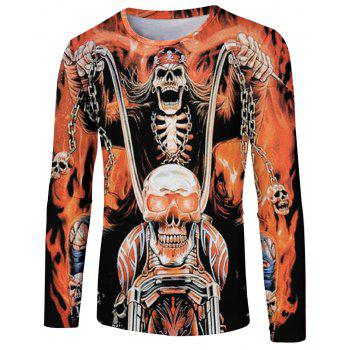 Fashion Spring and Autumn Color Skull 3D Printing Men s Long Sleeve T shirt