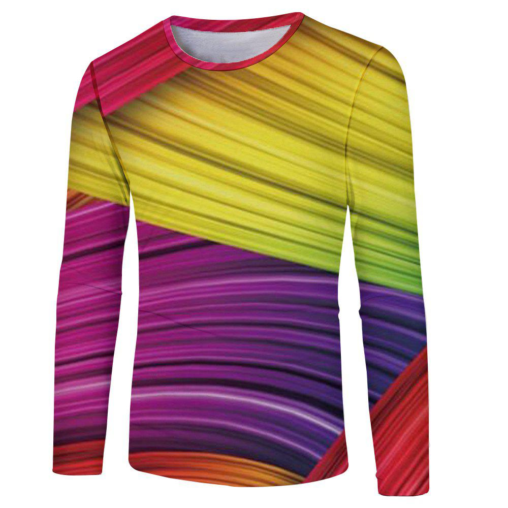 2018 Autumn New Color Stitching 3D Printing Men's Long-Sleeved T-shirt