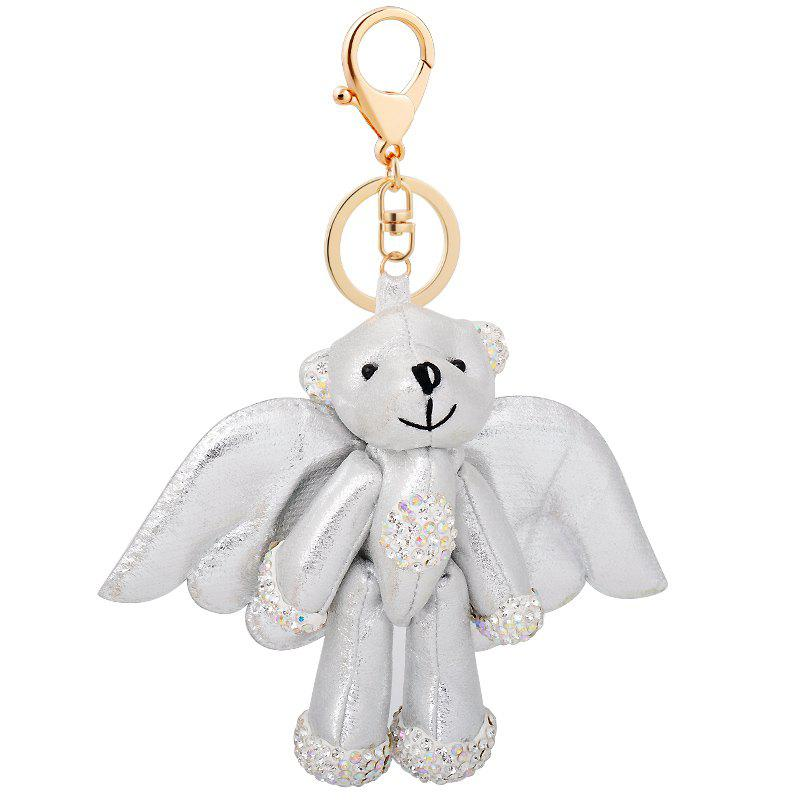 Silver Bear Stuffed Animal Backpack Clip Toy Keychain Wild Life lovely huge bear toy plush toy cute big eyes bow stuffed bear toy teddy bear birthday gift white 160cm